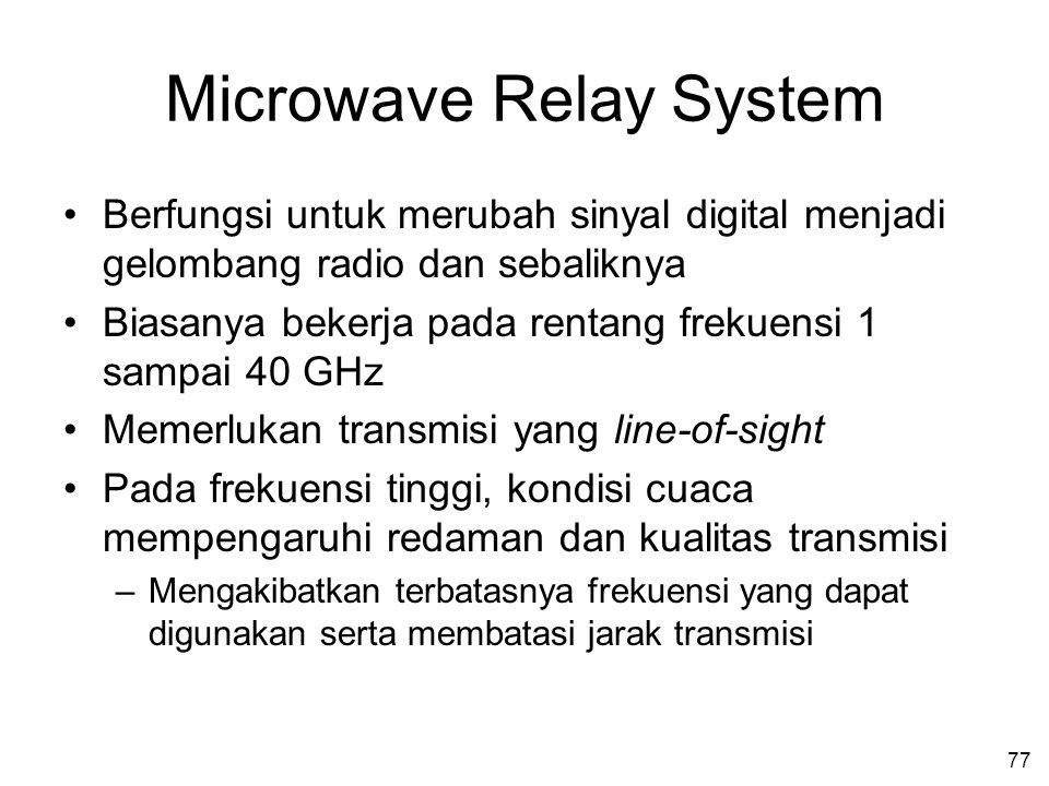 77 Microwave Relay System •Berfungsi untuk merubah sinyal digital menjadi gelombang radio dan sebaliknya •Biasanya bekerja pada rentang frekuensi 1 sampai 40 GHz •Memerlukan transmisi yang line-of-sight •Pada frekuensi tinggi, kondisi cuaca mempengaruhi redaman dan kualitas transmisi –Mengakibatkan terbatasnya frekuensi yang dapat digunakan serta membatasi jarak transmisi