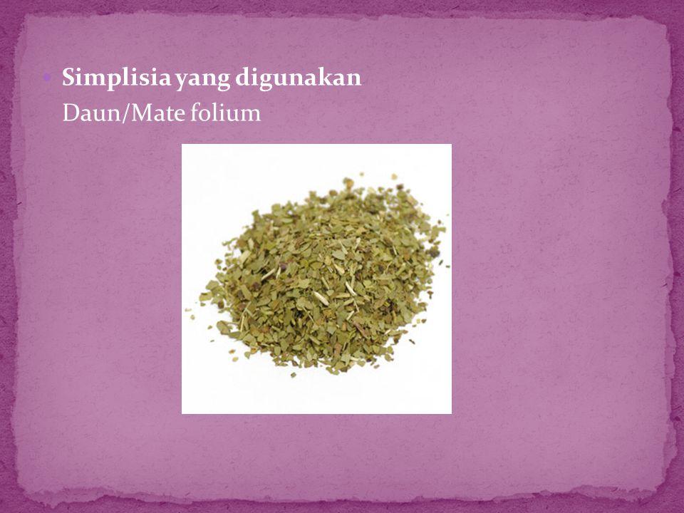  Simplisia yang digunakan Daun/Mate folium