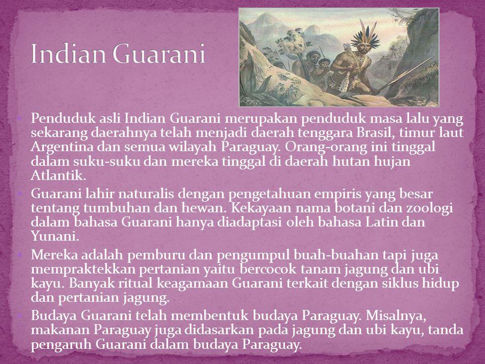 Penduduk asli Indian Guarani merupakan penduduk masa lalu yang sekarang daerahnya telah menjadi daerah tenggara Brasil, timur laut Argentina dan sem
