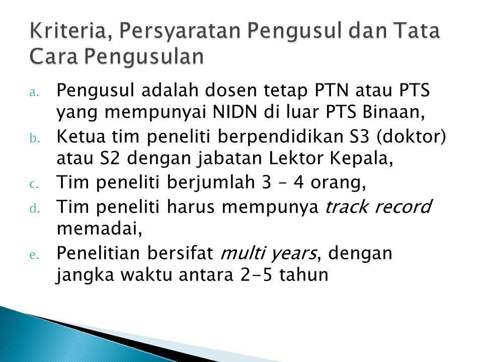 a.Pengusul adalah dosen tetap PTN atau PTS yang mempunyai NIDN di luar PTS Binaan, b.