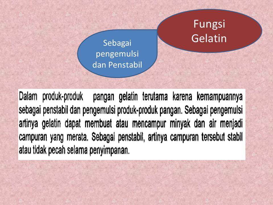 Gelatin Gelatin merupakan protein konversi bersifat larut air yang diperoleh dari hidrolisis kolagen yang bersifat tidak larut air. Gelatin adalah sal