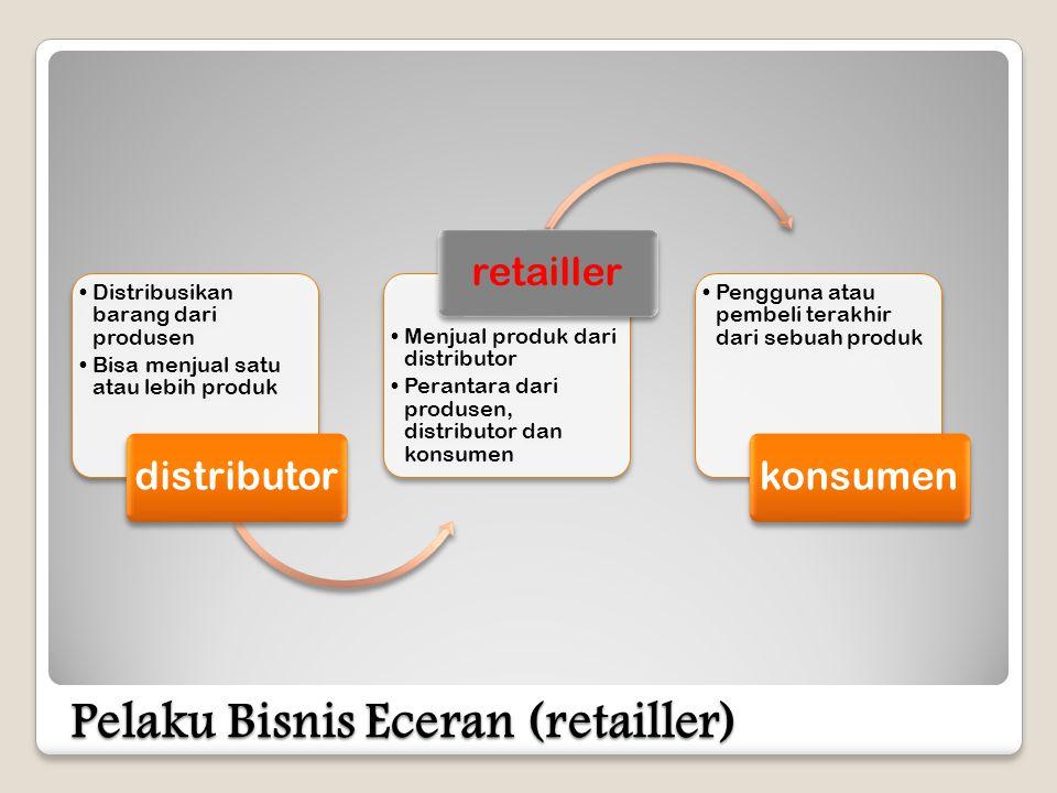 Pelaku Bisnis Eceran (retailler) •Distribusikan barang dari produsen •Bisa menjual satu atau lebih produk distributor •Menjual produk dari distributor •Perantara dari produsen, distributor dan konsumen retailler •Pengguna atau pembeli terakhir dari sebuah produk konsumen