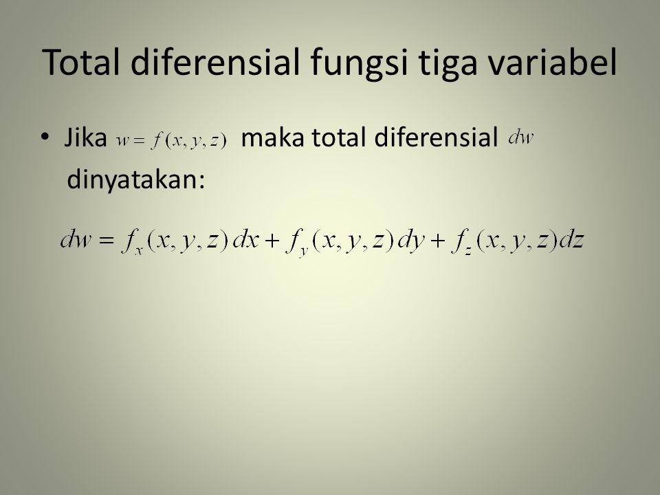 Total diferensial fungsi tiga variabel • Jika maka total diferensial dinyatakan: