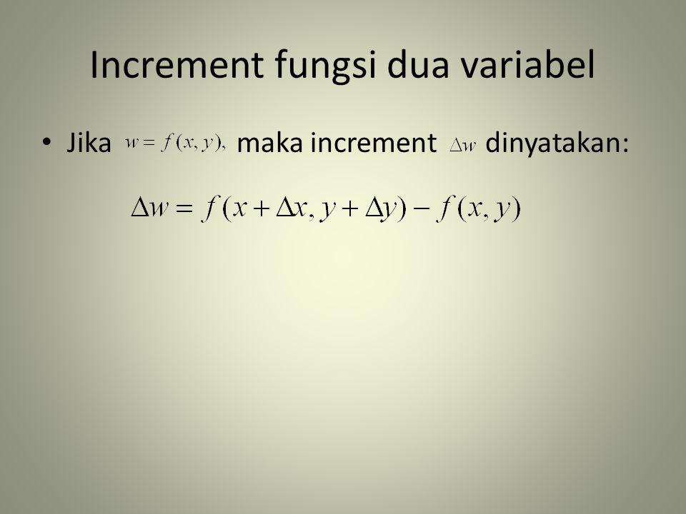 Increment fungsi dua variabel • Jika maka increment dinyatakan: