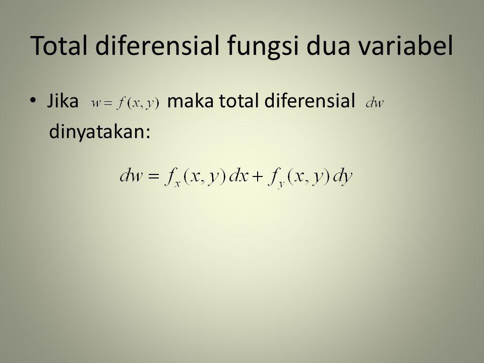 Total diferensial fungsi dua variabel • Jika maka total diferensial dinyatakan: