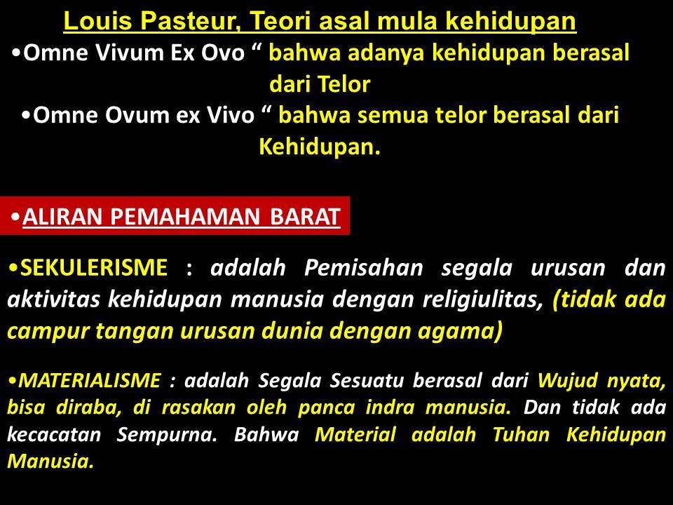 Louis Pasteur, Teori asal mula kehidupan •Omne Vivum Ex Ovo bahwa adanya kehidupan berasal dari Telor •Omne Ovum ex Vivo bahwa semua telor berasal dari Kehidupan.