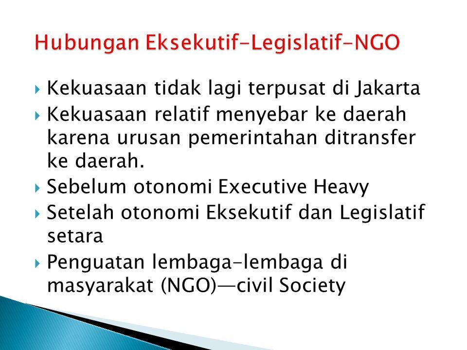  Kekuasaan tidak lagi terpusat di Jakarta  Kekuasaan relatif menyebar ke daerah karena urusan pemerintahan ditransfer ke daerah.