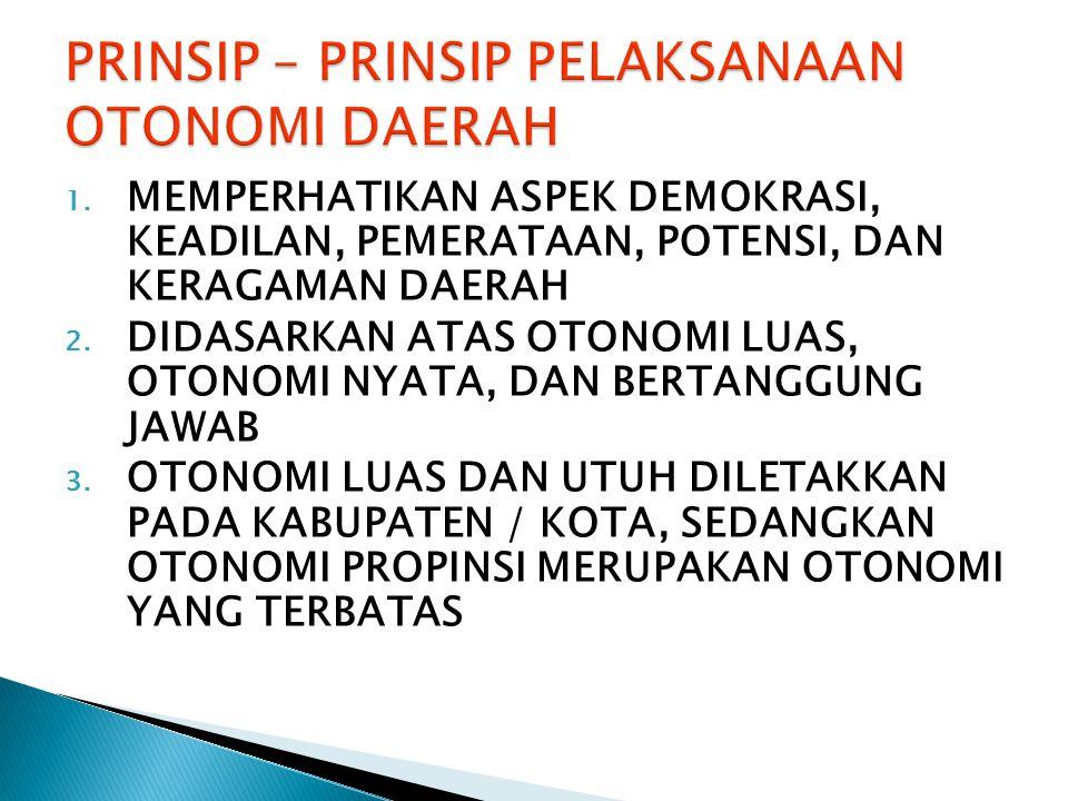 1.MEMPERHATIKAN ASPEK DEMOKRASI, KEADILAN, PEMERATAAN, POTENSI, DAN KERAGAMAN DAERAH 2.