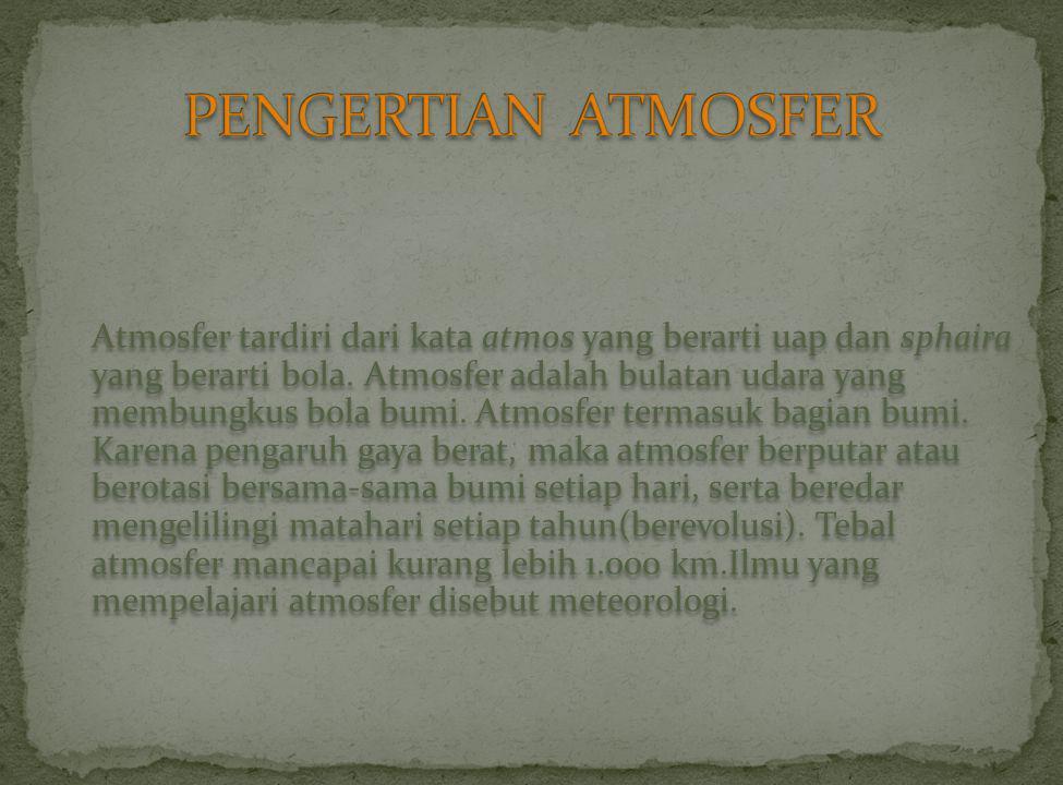 Atmosfer tardiri dari kata atmos yang berarti uap dan sphaira yang berarti bola.