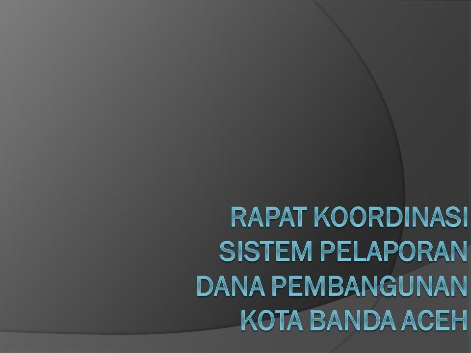 Rekapitulasi Dana Pembangunan Kota Banda Aceh dari Berbagai Sumber APBK+DAK DAKOTSUSMIGAS TUGAS PERBANTUAN Jumlah Anggaran (Rp) 287,968,552,27930,888,293,00071,225,644,8365,590,743,29523,610,300,000 Realisasi fisik (%) 9.870.00 0.33 Realisasi keuangan (%) 9.510.00 2.00 Status April 2012