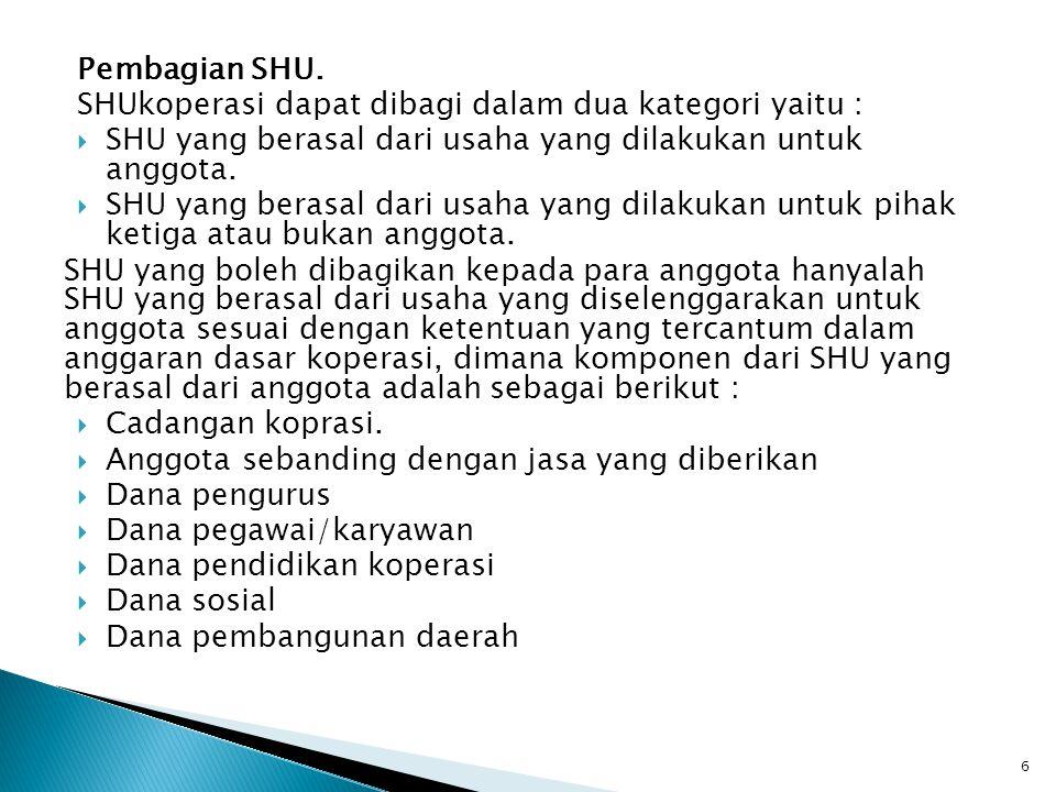 Pembagian SHU. SHUkoperasi dapat dibagi dalam dua kategori yaitu :  SHU yang berasal dari usaha yang dilakukan untuk anggota.  SHU yang berasal dari