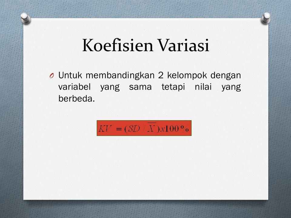 Koefisien Variasi O Untuk membandingkan 2 kelompok dengan variabel yang sama tetapi nilai yang berbeda.
