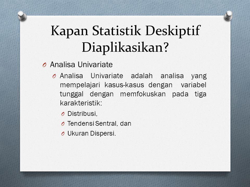 Kapan Statistik Deskiptif Diaplikasikan? O Analisa Univariate O Analisa Univariate adalah analisa yang mempelajari kasus-kasus dengan variabel tunggal