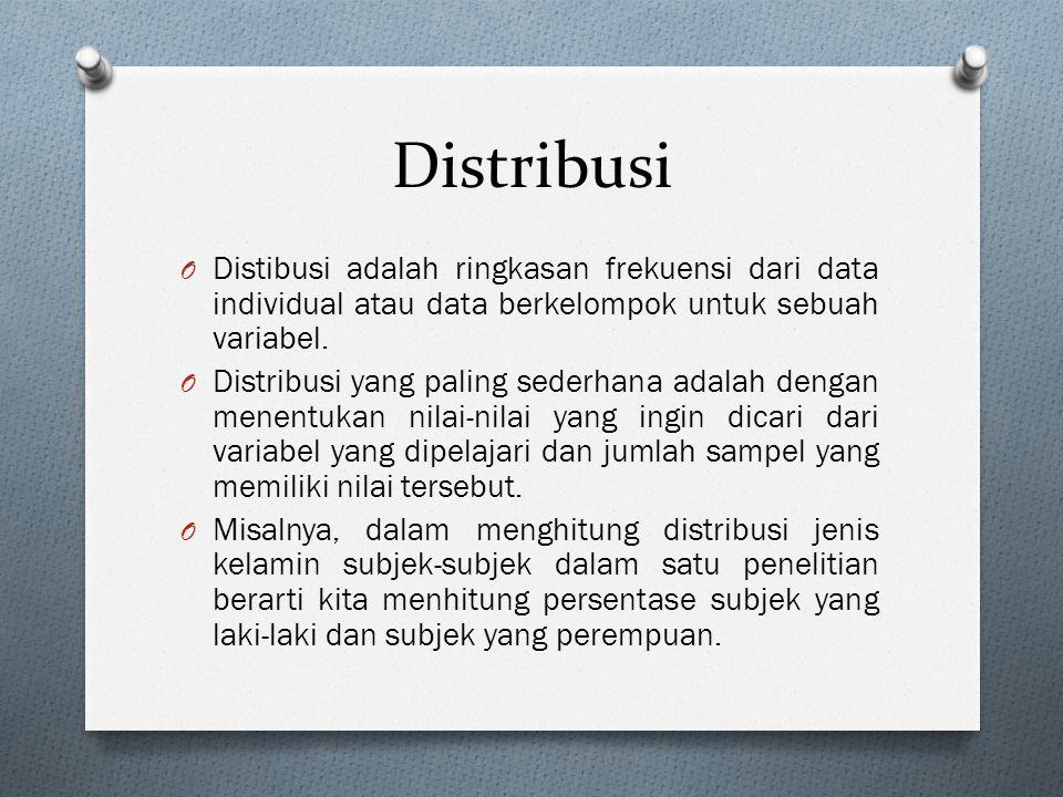 Distribusi O Distibusi adalah ringkasan frekuensi dari data individual atau data berkelompok untuk sebuah variabel. O Distribusi yang paling sederhana