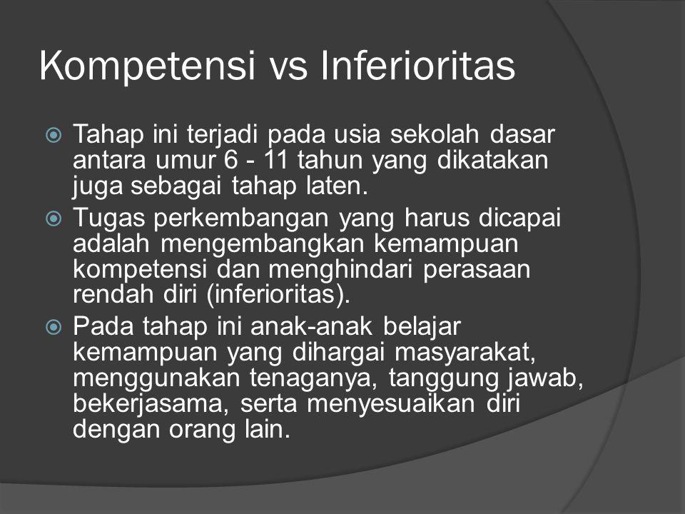 Kompetensi vs Inferioritas  Tahap ini terjadi pada usia sekolah dasar antara umur 6 - 11 tahun yang dikatakan juga sebagai tahap laten.  Tugas perke