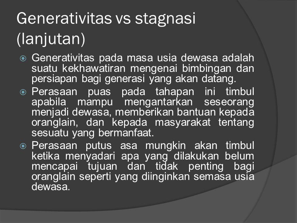 Generativitas vs stagnasi (lanjutan)  Generativitas pada masa usia dewasa adalah suatu kekhawatiran mengenai bimbingan dan persiapan bagi generasi ya
