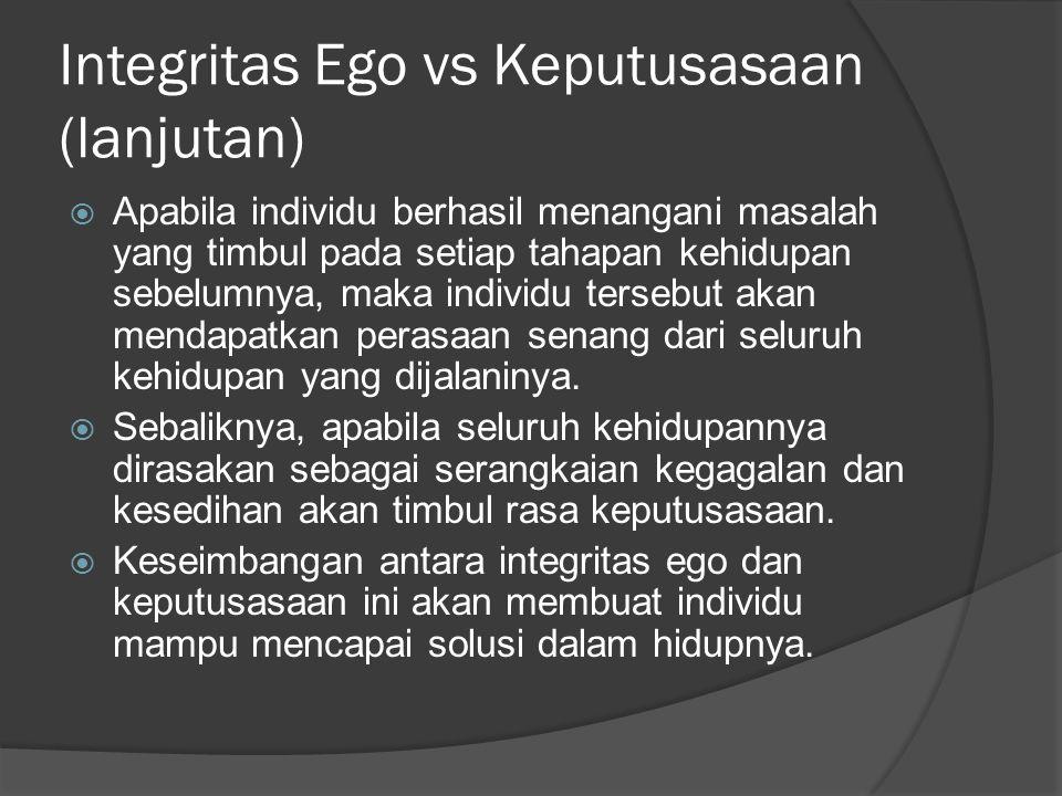 Integritas Ego vs Keputusasaan (lanjutan)  Apabila individu berhasil menangani masalah yang timbul pada setiap tahapan kehidupan sebelumnya, maka ind