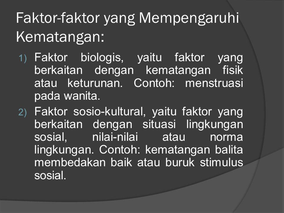 Ciri-ciri Kematangan 1) Ketergantungan menjadi kemandirian; 2) Kesenangan ke arah realitas (pengendalian diri); 3) Ketidaktahuan menjadi ke arah pengetahuan; 4) Inkompetensi menjadi ke arah kompetensi; 5) Seksualitas kabur menjadi ke arah seksualitas diferensiasi; 6) Amoral ke arah moral;