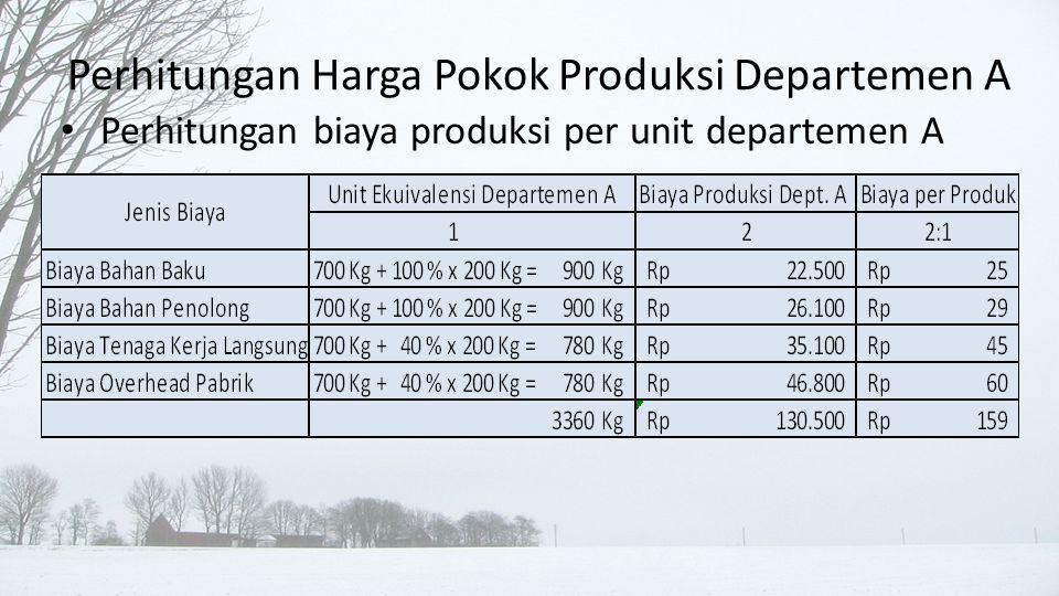 • Perhitungan biaya produksi departemen A