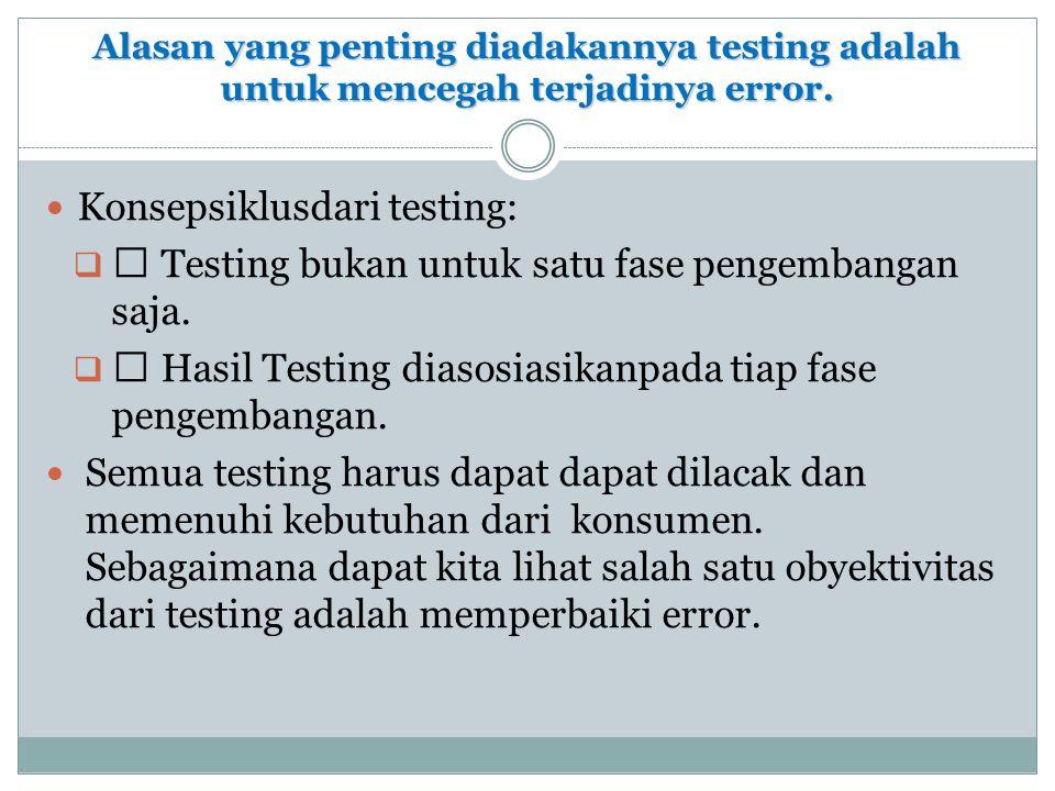 Alasan yang penting diadakannya testing adalah untuk mencegah terjadinya error.  Konsepsiklusdari testing:  ‰ Testing bukan untuk satu fase pengemba