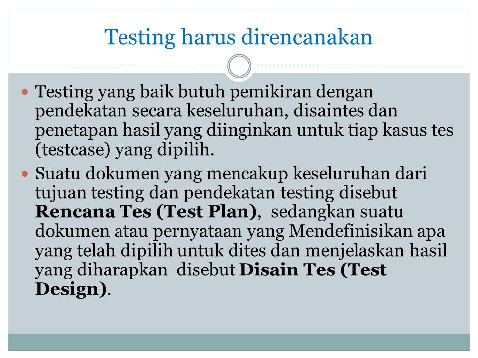 Testing harus direncanakan  Testing yang baik butuh pemikiran dengan pendekatan secara keseluruhan, disaintes dan penetapan hasil yang diinginkan unt