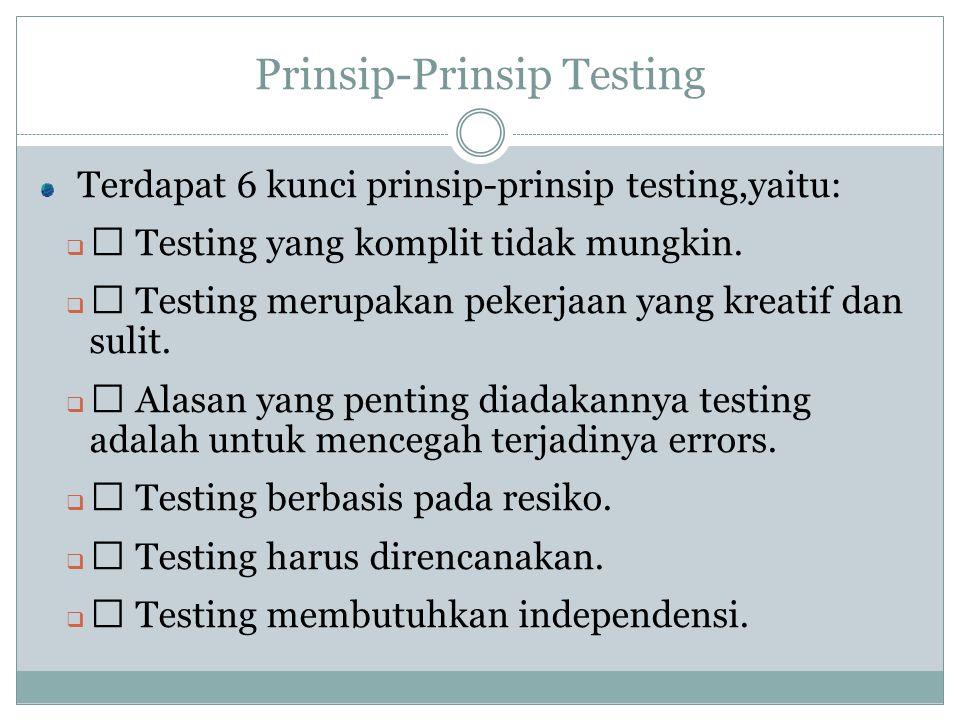 Prinsip-Prinsip Testing Terdapat 6 kunci prinsip-prinsip testing,yaitu:  ‰ Testing yang komplit tidak mungkin.  ‰ Testing merupakan pekerjaan yang k