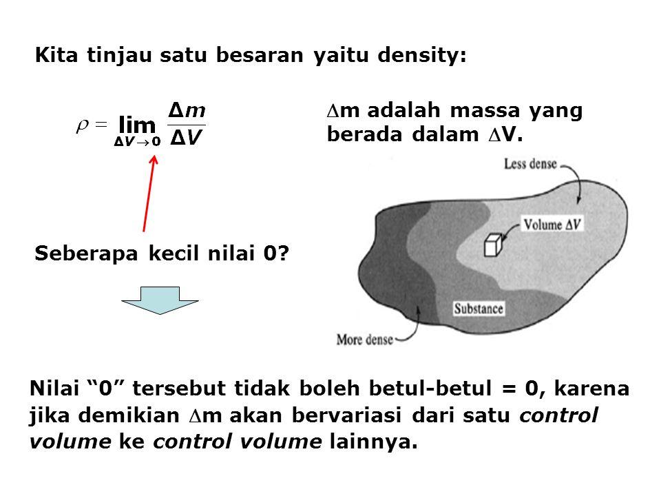 Kita tinjau satu besaran yaitu density: m adalah massa yang berada dalam V.