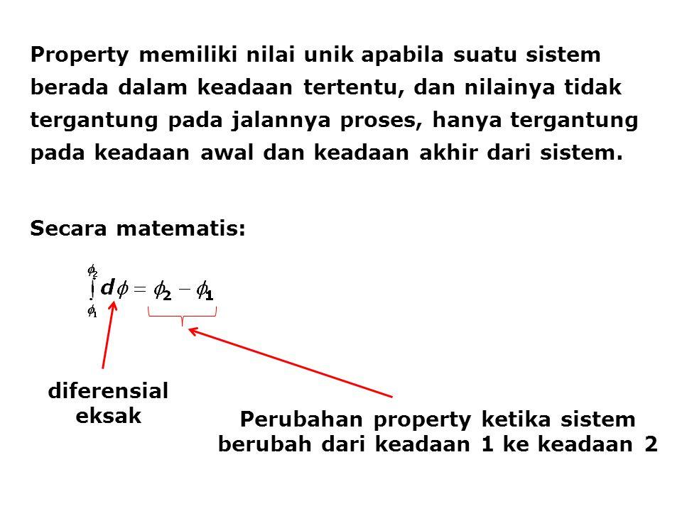 Property memiliki nilai unik apabila suatu sistem berada dalam keadaan tertentu, dan nilainya tidak tergantung pada jalannya proses, hanya tergantung pada keadaan awal dan keadaan akhir dari sistem.