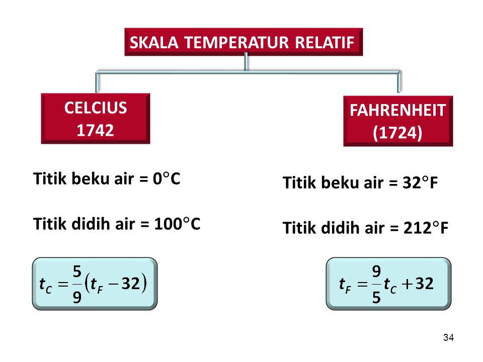 34 SKALA TEMPERATUR RELATIF Titik beku air = 0  C Titik didih air = 100  C CELCIUS 1742 FAHRENHEIT (1724) Titik beku air = 32  F Titik didih air = 212  F