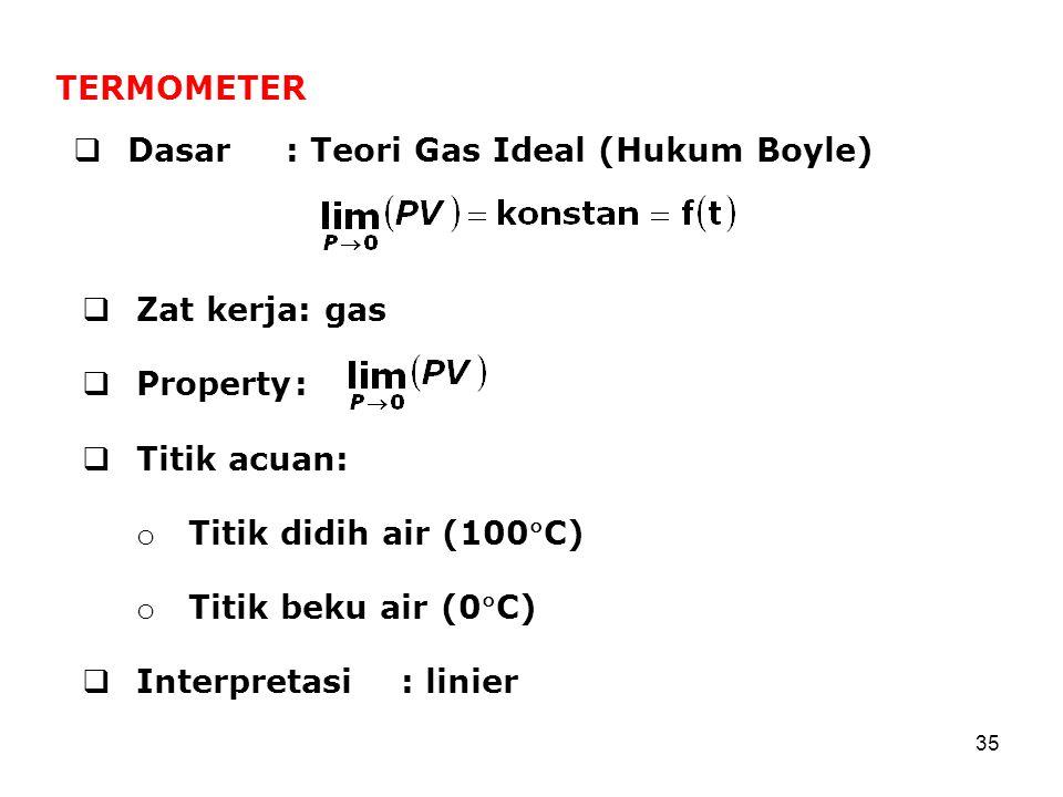 35  Dasar: Teori Gas Ideal (Hukum Boyle) TERMOMETER  Zat kerja: gas  Property:  Titik acuan: o Titik didih air (100C) o Titik beku air (0C)  Interpretasi: linier