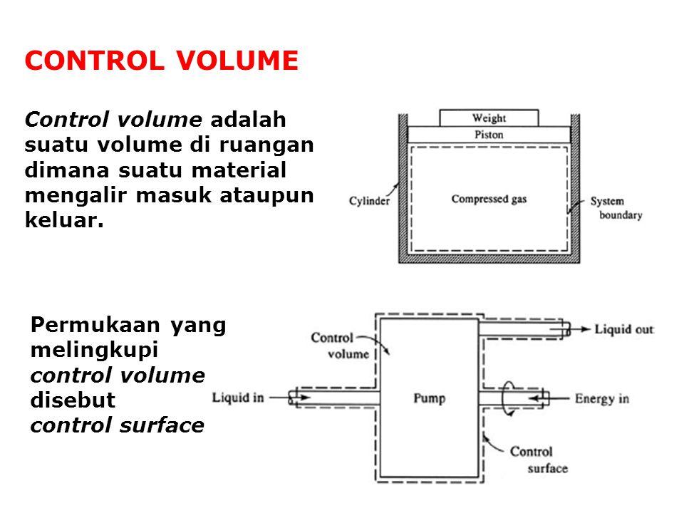 CONTROL VOLUME Control volume adalah suatu volume di ruangan dimana suatu material mengalir masuk ataupun keluar.
