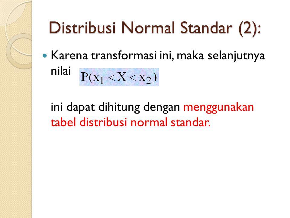  Karena transformasi ini, maka selanjutnya nilai ini dapat dihitung dengan menggunakan tabel distribusi normal standar. Distribusi Normal Standar (2)