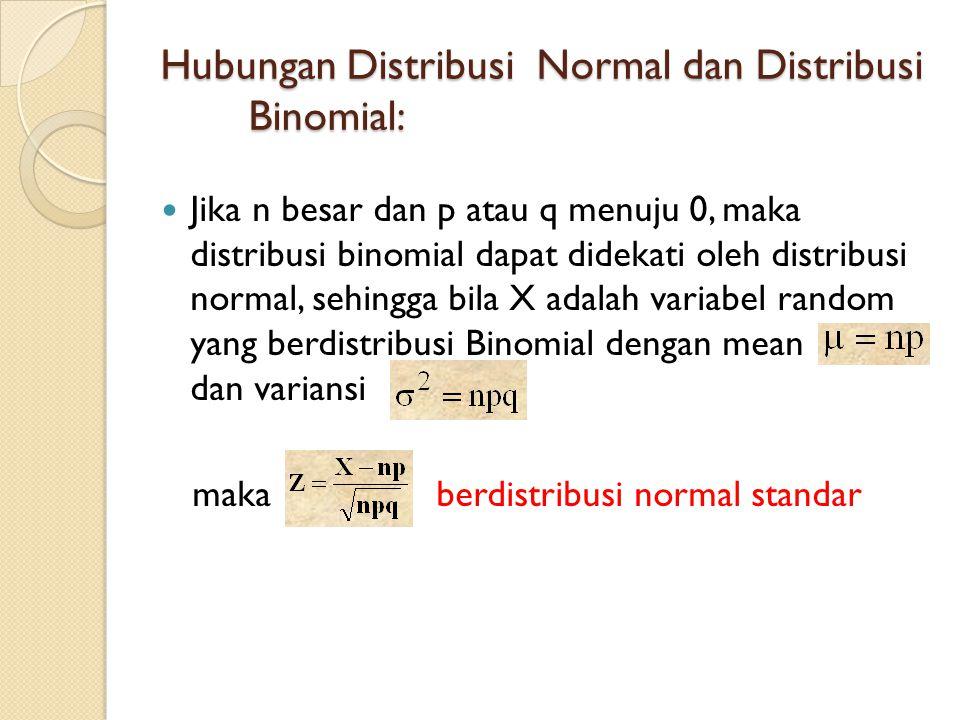 Hubungan Distribusi Normal dan Distribusi Binomial:  Jika n besar dan p atau q menuju 0, maka distribusi binomial dapat didekati oleh distribusi normal, sehingga bila X adalah variabel random yang berdistribusi Binomial dengan mean dan variansi maka berdistribusi normal standar