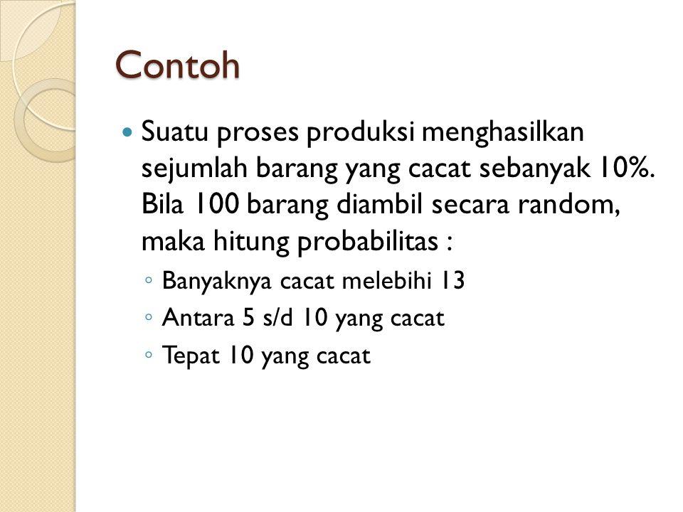 Contoh  Suatu proses produksi menghasilkan sejumlah barang yang cacat sebanyak 10%.