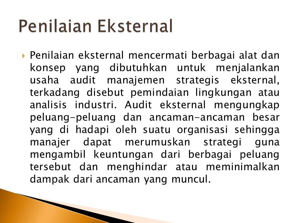  Penilaian eksternal mencermati berbagai alat dan konsep yang dibutuhkan untuk menjalankan usaha audit manajemen strategis eksternal, terkadang disebut pemindaian lingkungan atau analisis industri.