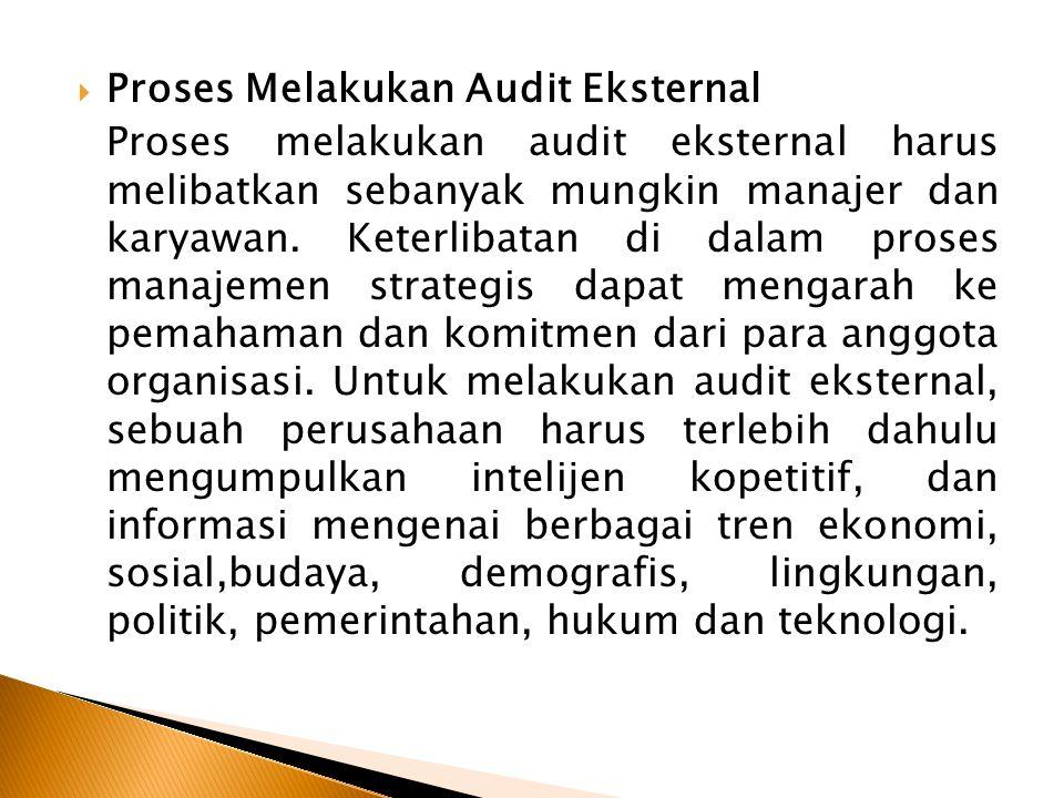  Proses Melakukan Audit Eksternal Proses melakukan audit eksternal harus melibatkan sebanyak mungkin manajer dan karyawan. Keterlibatan di dalam pros