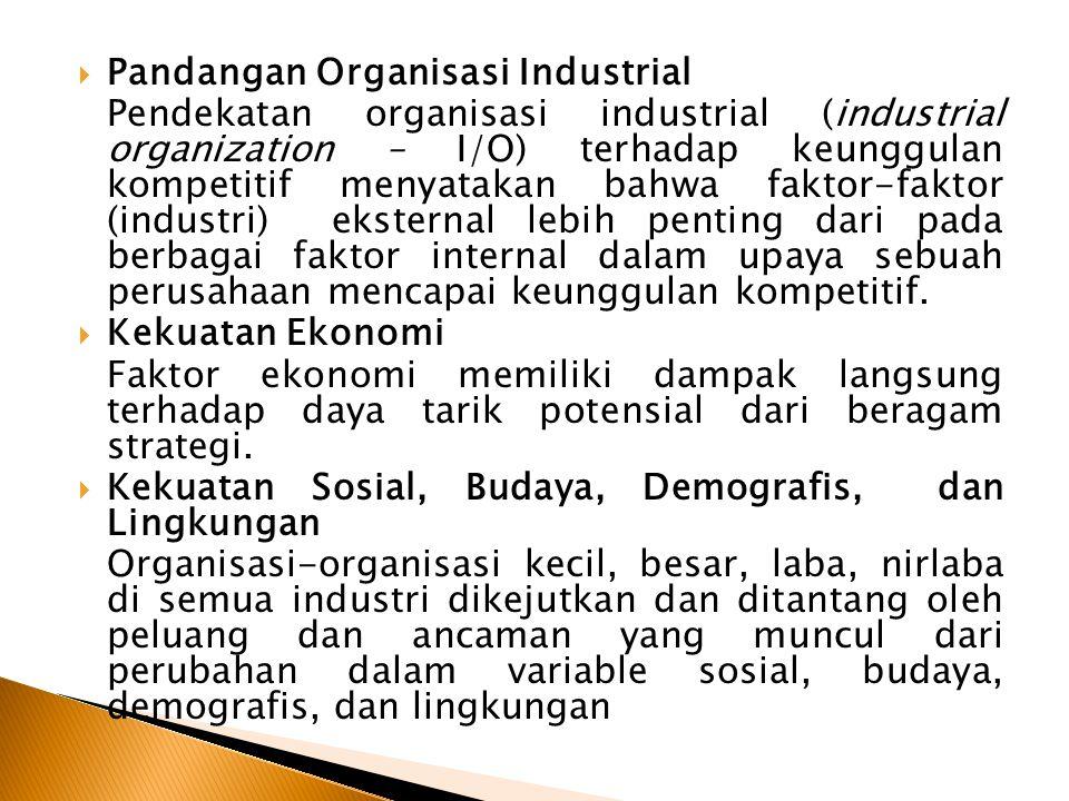  Pandangan Organisasi Industrial Pendekatan organisasi industrial (industrial organization – I/O) terhadap keunggulan kompetitif menyatakan bahwa faktor-faktor (industri) eksternal lebih penting dari pada berbagai faktor internal dalam upaya sebuah perusahaan mencapai keunggulan kompetitif.