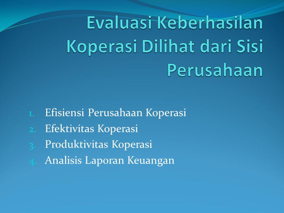 1. Efisiensi Perusahaan Koperasi 2. Efektivitas Koperasi 3. Produktivitas Koperasi 4. Analisis Laporan Keuangan