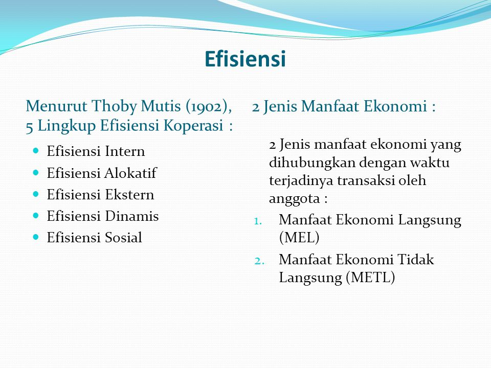 Efisiensi Menurut Thoby Mutis (1902), 5 Lingkup Efisiensi Koperasi : 2 Jenis Manfaat Ekonomi :  Efisiensi Intern  Efisiensi Alokatif  Efisiensi Eks