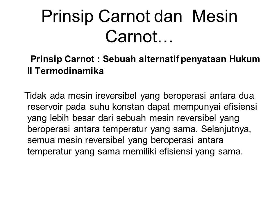 Prinsip Carnot dan Mesin Carnot… Prinsip Carnot : Sebuah alternatif penyataan Hukum II Termodinamika Tidak ada mesin ireversibel yang beroperasi antar