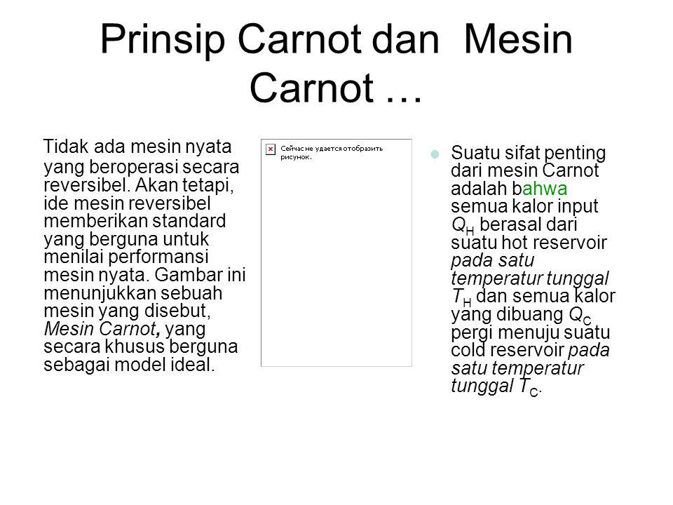 Prinsip Carnot dan Mesin Carnot … Tidak ada mesin nyata yang beroperasi secara reversibel. Akan tetapi, ide mesin reversibel memberikan standard yang