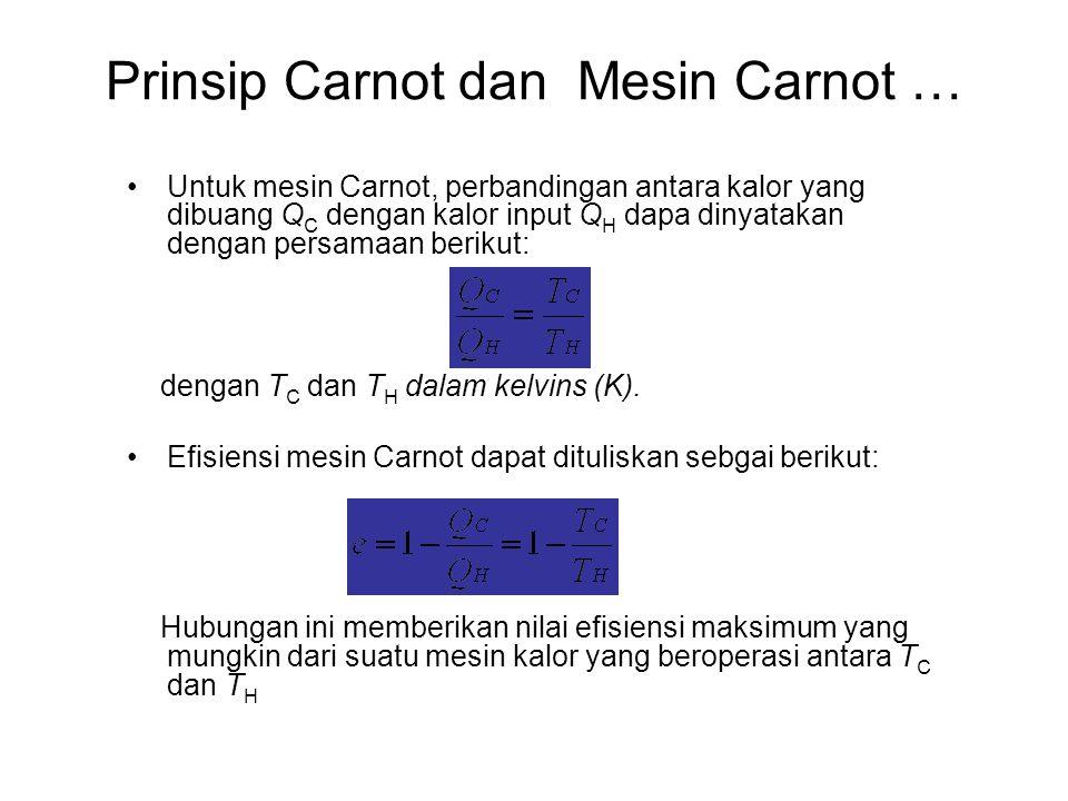 Prinsip Carnot dan Mesin Carnot … •Untuk mesin Carnot, perbandingan antara kalor yang dibuang Q C dengan kalor input Q H dapa dinyatakan dengan persam