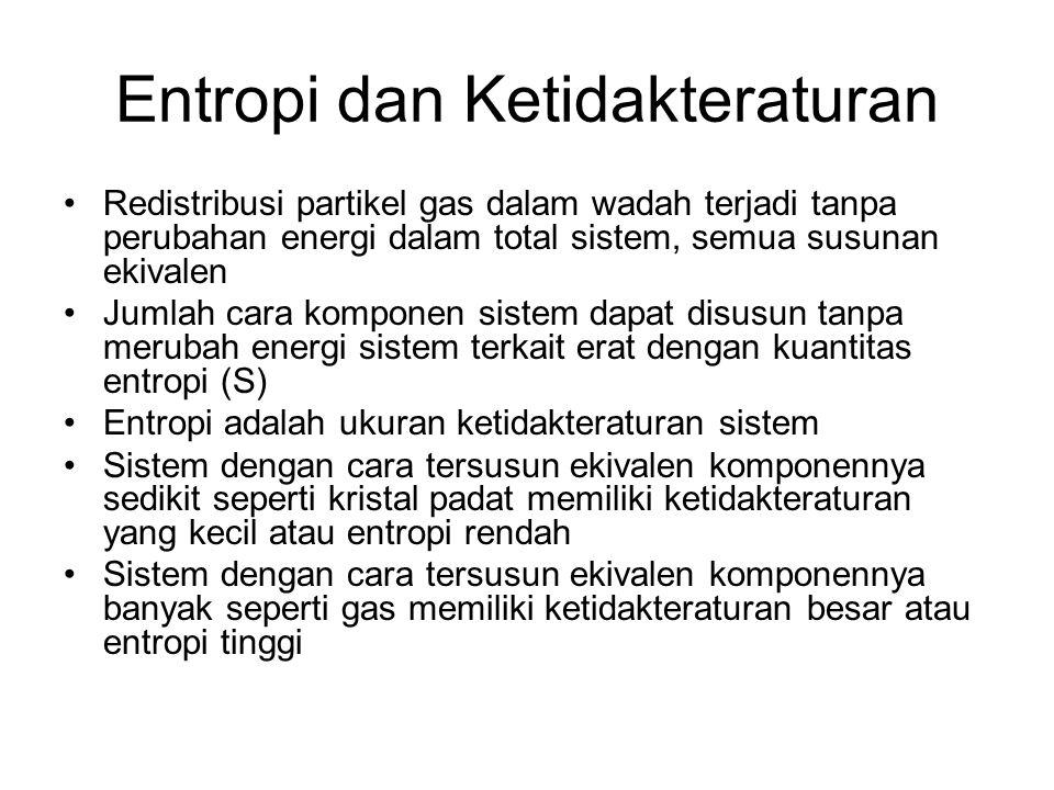 Entropi dan Ketidakteraturan •Redistribusi partikel gas dalam wadah terjadi tanpa perubahan energi dalam total sistem, semua susunan ekivalen •Jumlah