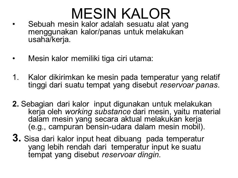 MESIN KALOR •Sebuah mesin kalor adalah sesuatu alat yang menggunakan kalor/panas untuk melakukan usaha/kerja. •Mesin kalor memiliki tiga ciri utama: 1