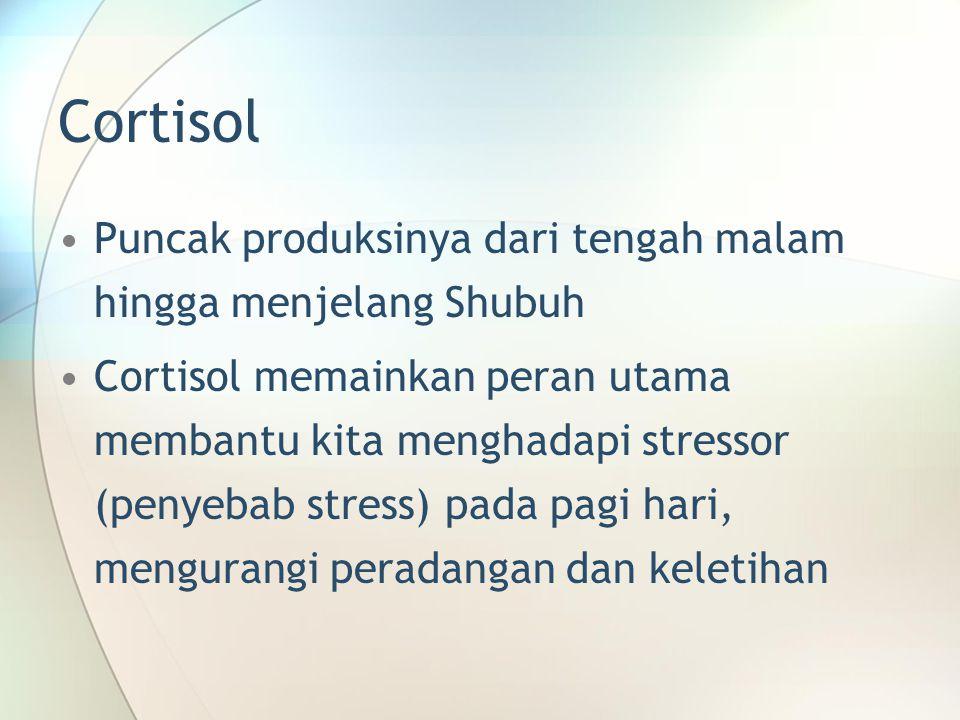 Cortisol •Puncak produksinya dari tengah malam hingga menjelang Shubuh •Cortisol memainkan peran utama membantu kita menghadapi stressor (penyebab str