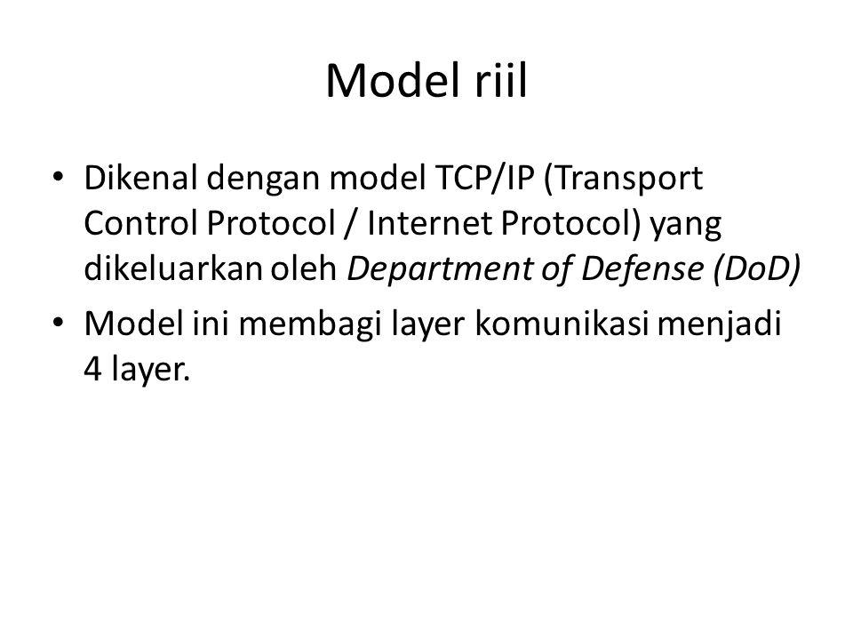 Model riil • Dikenal dengan model TCP/IP (Transport Control Protocol / Internet Protocol) yang dikeluarkan oleh Department of Defense (DoD) • Model ini membagi layer komunikasi menjadi 4 layer.