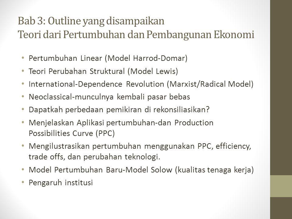 Bab 3: Outline yang disampaikan Teori dari Pertumbuhan dan Pembangunan Ekonomi • Pertumbuhan Linear (Model Harrod-Domar) • Teori Perubahan Struktural