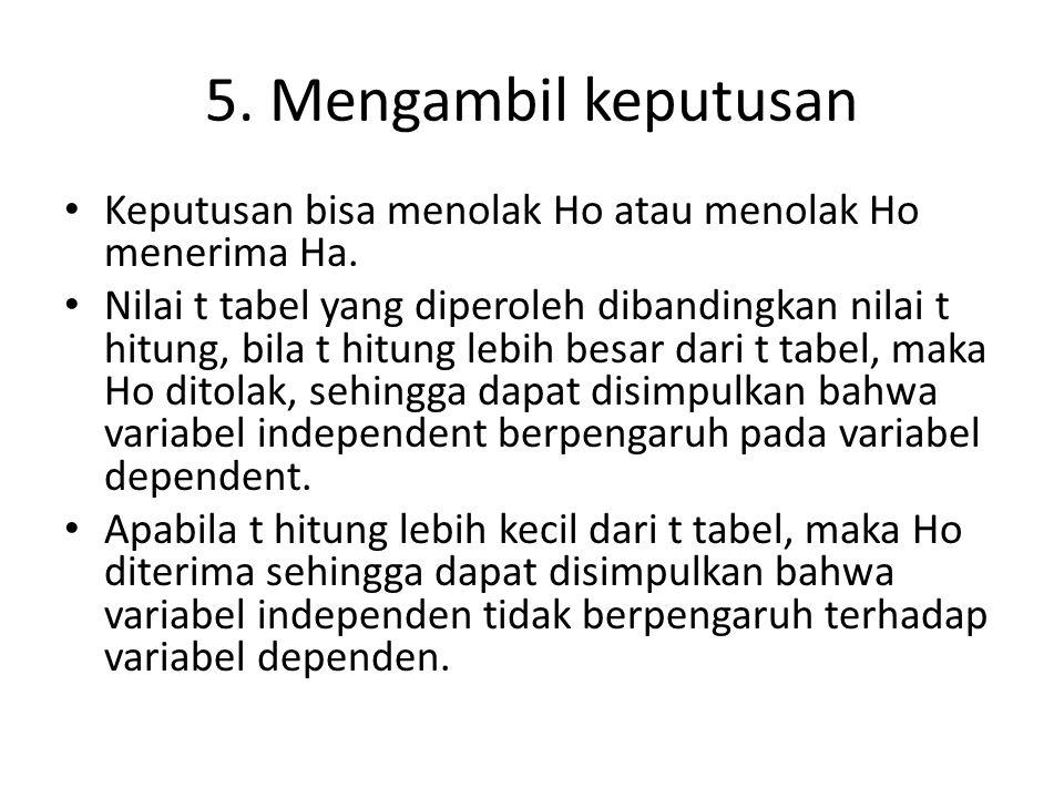 5. Mengambil keputusan • Keputusan bisa menolak Ho atau menolak Ho menerima Ha. • Nilai t tabel yang diperoleh dibandingkan nilai t hitung, bila t hit