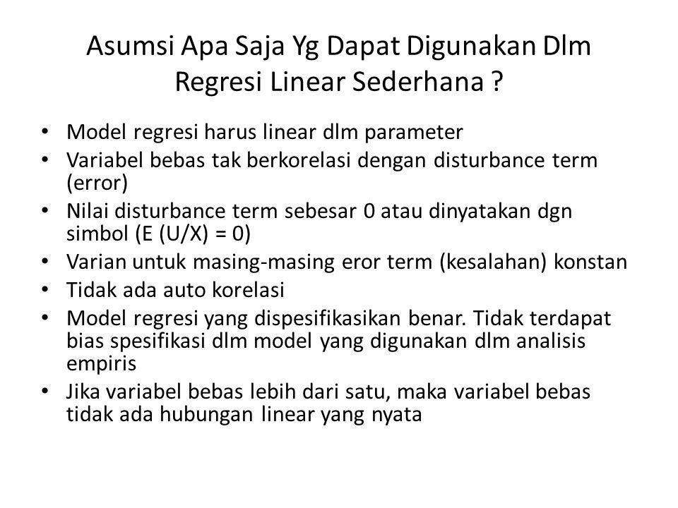 Asumsi Apa Saja Yg Dapat Digunakan Dlm Regresi Linear Sederhana ? • Model regresi harus linear dlm parameter • Variabel bebas tak berkorelasi dengan d