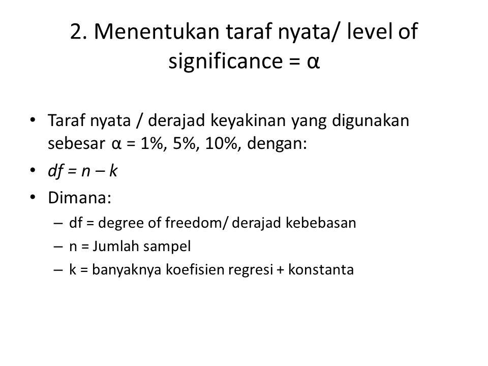 2. Menentukan taraf nyata/ level of significance = α • Taraf nyata / derajad keyakinan yang digunakan sebesar α = 1%, 5%, 10%, dengan: • df = n – k •